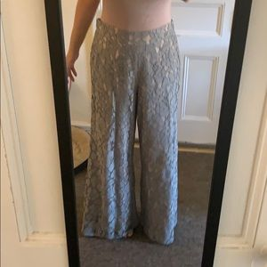 Anthropologie wide leg lace pants grey nude pink